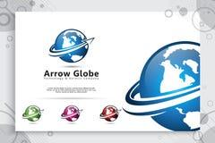 Logo för piljordklotvektor med den moderna begreppsdesignen, illustration av jordklotet för digital mall för affär royaltyfri illustrationer