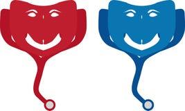 Logo för portionhand/stetoskop Arkivfoton