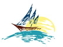 Logo för seglingskyttel i havet Arkivbild