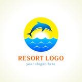 Logo för semesterort för delfinhavsvågor Arkivfoton