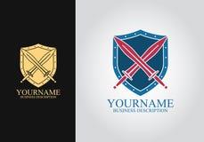 Logo för sköldsvärddesign royaltyfri illustrationer