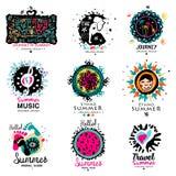 Logo för sommarsemester Hand drog beståndsdelar för sommarlogo Royaltyfria Bilder