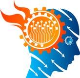 Logo för spänningsmeningskugghjul stock illustrationer