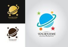 Logo för stjärnaplanetdesign vektor illustrationer