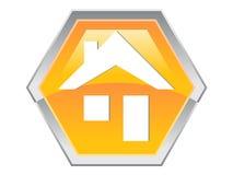 logo för symbol för designsexhörningshus vektor illustrationer