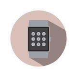 Logo för symbol för smart för klockatidtimme modern för teknologi applikation för elektronik enkel plan Arkivbilder
