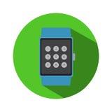 Logo för symbol för smart för klockatidtimme modern för teknologi applikation för elektronik enkel plan Royaltyfri Fotografi