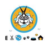 Logo för symbol för vattenfärgstänkhund Royaltyfri Illustrationer