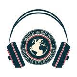 Logo för tappning för världsradiodag i tre färger Royaltyfri Fotografi
