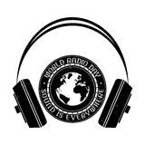 Logo för tappning för världsradiodag svart white Royaltyfria Foton