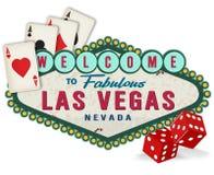 Logo för tappningLas Vegas tecken med tärning och spelakort Royaltyfri Bild