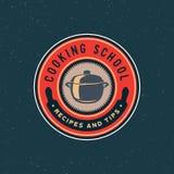 Logo för tappningmatlagninggrupper retro utformat kulinariskt skolaemblem också vektor för coreldrawillustration royaltyfri illustrationer