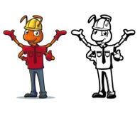 Logo för tecken för myrabyggnadsarbetarebyggmästare stock illustrationer