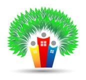 Logo för träd för familjhem Arkivbild