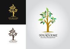 Logo för trädbladdesign vektor illustrationer