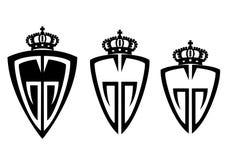 Logo för tre sköld med en krona stock illustrationer