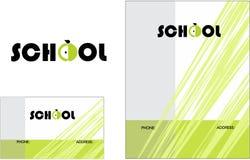 Logo för ungelärande mittskolutbildning, affärskort 2 x 3 5 reklamblad 4 25 x 5 5 stock illustrationer