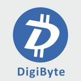 Logo för vektor för DigiByte DGB decentraliserad blockchaincriptocurrency Arkivfoton