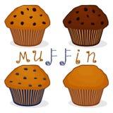 Logo för vektorsymbolsillustration för hemlagad muffin för uppsättning Fotografering för Bildbyråer