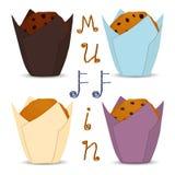 Logo för vektorsymbolsillustration för hemlagad muffin för uppsättning Arkivbild