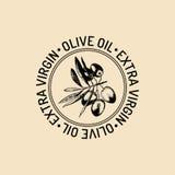 Logo för vektortappningoliv Retro emblem med filialen Handen skissade det naturliga extra jungfruliga oljeproduktiontecknet stock illustrationer