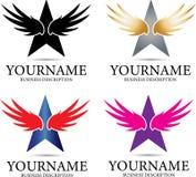 Logo för vingstjärnadesign stock illustrationer