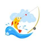 Logo für die Fischerei, die Fische und die Angelrute lizenzfreie abbildung