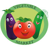 Logo für Gemüsemarkt Tomate, Gurke und Aubergine auf grünem Hintergrund lizenzfreies stockbild