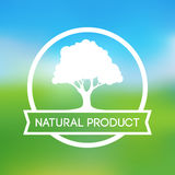 Logo of Farm Natural Products. In White Color on Scenic Landscape Royalty Free Stock Photography