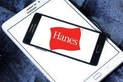 Hanes logo. Logo of fashion company Hanes on samsung mobile on samsung tablet royalty free stock photo