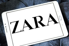 Zara logo. Logo of fashion company zara on samsung tablet Stock Photo