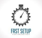 Logo - fast setup. Just one easy step stock illustration