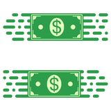 Logo fast transfer of money, a dollar bill in quick motion. vector concept of rapid transfer of funds. Logo fast transfer of money, a dollar bill in a quick royalty free illustration
