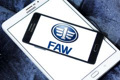 FAW automotive company logo. Logo of FAW automotive company on samsung mobile. FAW Group Corporation is a Chinese state-owned automotive manufacturing company in Stock Images