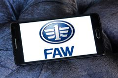FAW automotive company logo. Logo of FAW automotive company on samsung mobile. FAW Group Corporation is a Chinese state-owned automotive manufacturing company in Royalty Free Stock Images