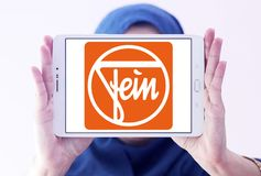 Fein company logo. Logo of Fein company on samsung tablet holded by arab muslim woman. Fein GmbH is a manufacturer of high-end power tools Stock Photo
