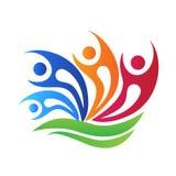 Logo felice del fiore della gente di lavoro di squadra royalty illustrazione gratis