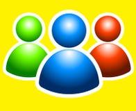 Logo fellows. Three little men green blue yellow as logo Royalty Free Stock Photo
