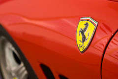 Logo of Ferrari on sport car royalty free stock photo