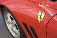Logo of Ferrari on sport car f Stock Photo