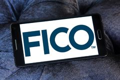 FICO data analytics company logo. Logo of FICO company on samsung mobile. FICO is a data analytics company Stock Photography