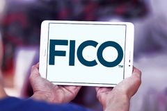 FICO data analytics company logo. Logo of FICO company on samsung tablet. FICO is a data analytics company Stock Image