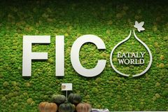 Logo of FICO food exhibition with vegetables royalty free stock photo