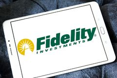 Fidelity Investments company logo. Logo of Fidelity Investments company on samsung tablet. Fidelity is a multinational financial services corporation Royalty Free Stock Photography
