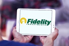 Fidelity Investments company logo. Logo of Fidelity Investments company on samsung tablet. Fidelity is a multinational financial services corporation Royalty Free Stock Images