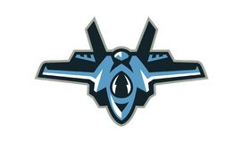Logo of the fighter, interceptor, aircraft. Military equipment. Vector illustration, a flat style. vector illustration