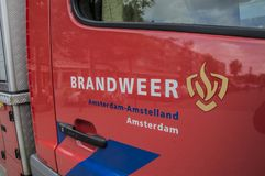 Logo Fire Department Amsterdam The Netherlands. Logo From The Fire Department At Amsterdam The Netherlands 2018 royalty free stock images