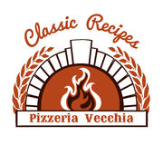 Logo with firewood oven and pizza Stock Photography