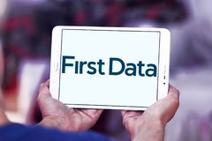 First Data Corporation logo. Logo of First Data Corporation on samsung tablet. First Data is a global leader in commerce enabling technology that helps simplify Stock Images