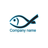 Logo fish black with blue. For company, club, store. EPS10 Royalty Free Stock Images